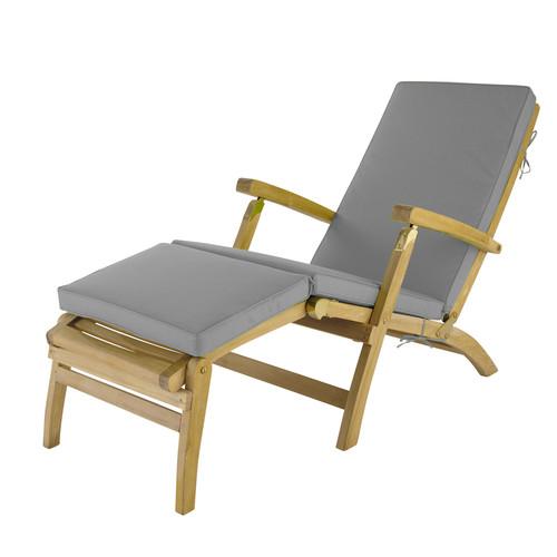Matelas chaise longue en tissu gris l 185 cm ol ron for Chaise longue en tissu