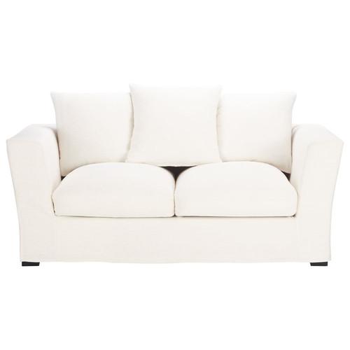 canap 2 3 places convertible lin blanc bruxelles maisons du monde. Black Bedroom Furniture Sets. Home Design Ideas