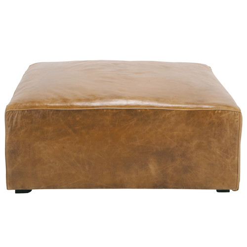 pouf de canap cuir vintage marron jefferson maisons du. Black Bedroom Furniture Sets. Home Design Ideas