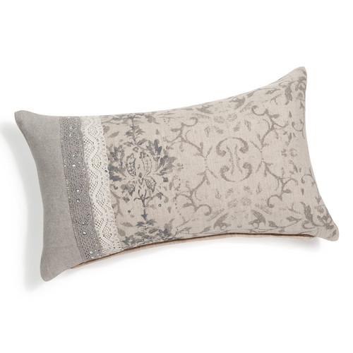 coussin en lin beige 50 x 30 cm baroque. Black Bedroom Furniture Sets. Home Design Ideas