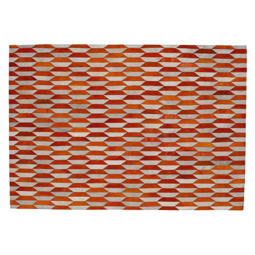 Tapis en cuir orange 160 x 230 cm lunel maisons du monde for Tapis jonc de mer avec magasin canape 06