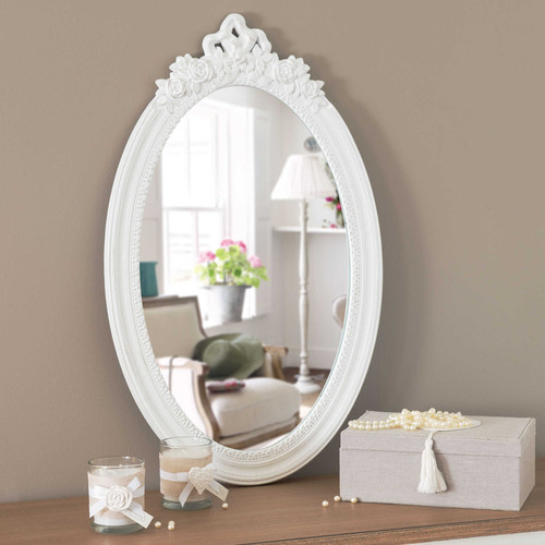 miroir en bois blanc h 65 cm romane maisons du monde. Black Bedroom Furniture Sets. Home Design Ideas