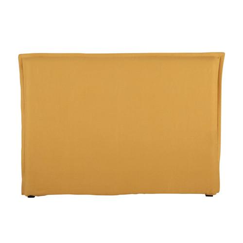housse de t te de lit 160 en lin lav jaune morphee. Black Bedroom Furniture Sets. Home Design Ideas