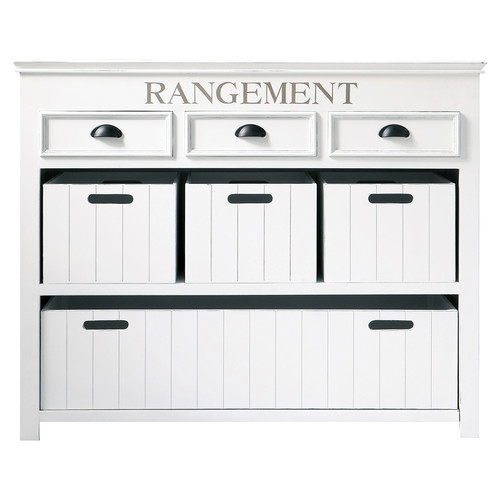 commode avec casiers en bois blanche l 124 cm newport maisons du monde. Black Bedroom Furniture Sets. Home Design Ideas