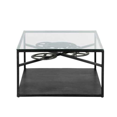 table basse indus en verre et m tal l 80 cm rouage maisons du monde. Black Bedroom Furniture Sets. Home Design Ideas