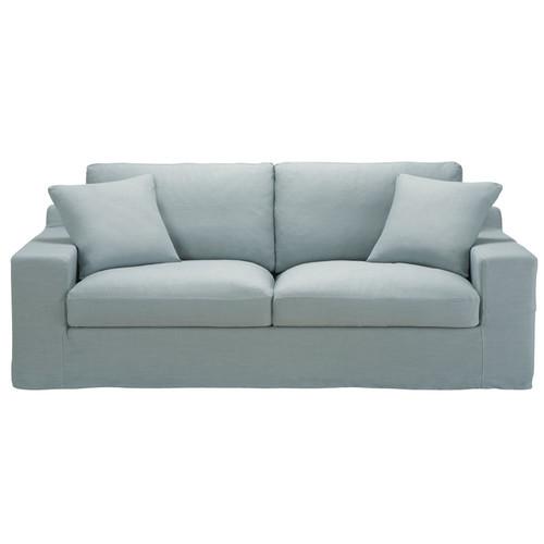 canap 3 places convertible lin bleu gris stuart maisons du monde. Black Bedroom Furniture Sets. Home Design Ideas