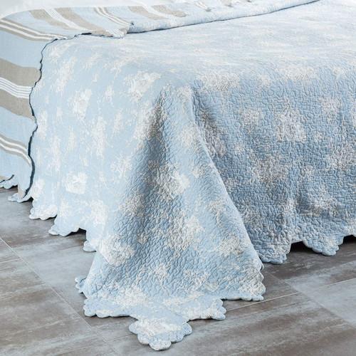 boutis 2 taies en coton bleu 240 x 260 cm trianon maisons du monde. Black Bedroom Furniture Sets. Home Design Ideas
