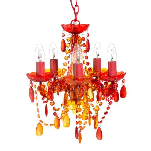 Lustre en plastique acrylique rouge et orange d 35 cm Lustres maison du monde