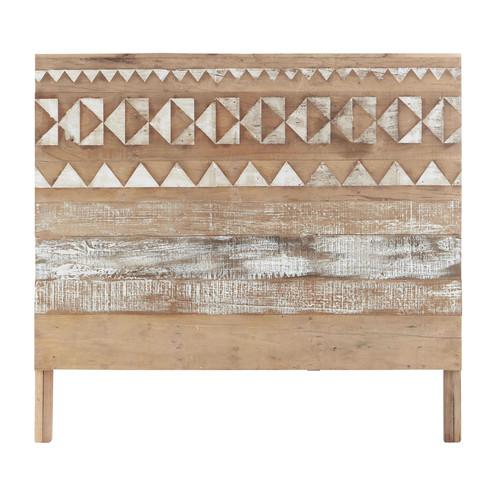 t te de lit motifs en bois recycl l 140 cm tikka maisons du monde. Black Bedroom Furniture Sets. Home Design Ideas