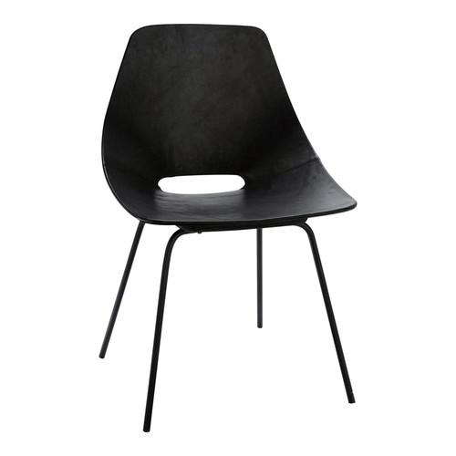 chaise tonneau guariche en cuir et m tal noire amsterdam. Black Bedroom Furniture Sets. Home Design Ideas