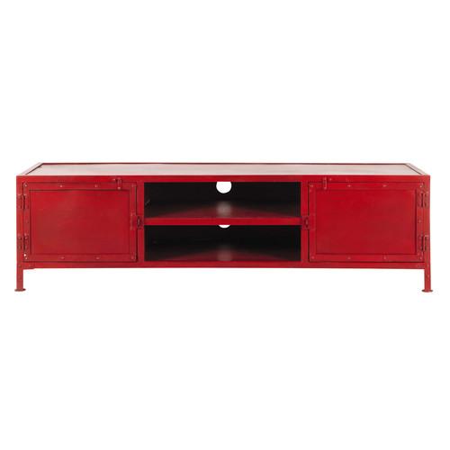 Meuble Tv Rouge : Meuble Tv Indus En Métal Rouge L 150 Cm Edisonmaisons Du Monde