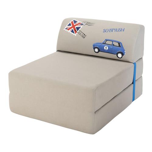 Chauffeuse Convertible En Tissu Grise 74 150 Cm London