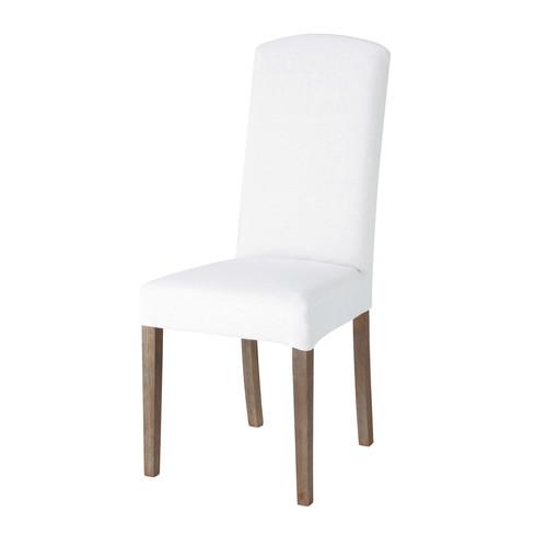 housse de chaise en lin blanche alice maisons du monde. Black Bedroom Furniture Sets. Home Design Ideas