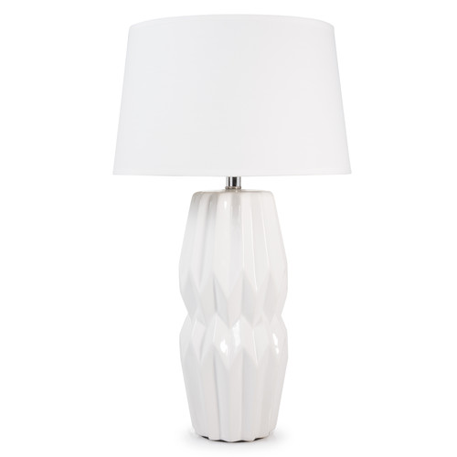 abat jour sospese : Lampada in ceramica bianca e abat-jour bianco H 50 cm KYOTO Maisons ...