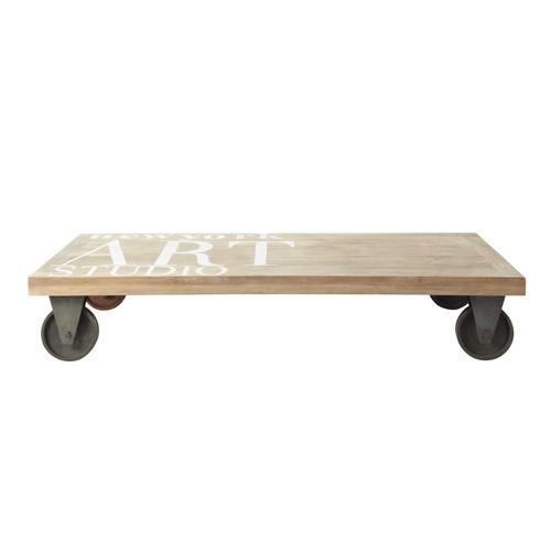 table basse roulettes en m tal et manguier massif l 130. Black Bedroom Furniture Sets. Home Design Ideas