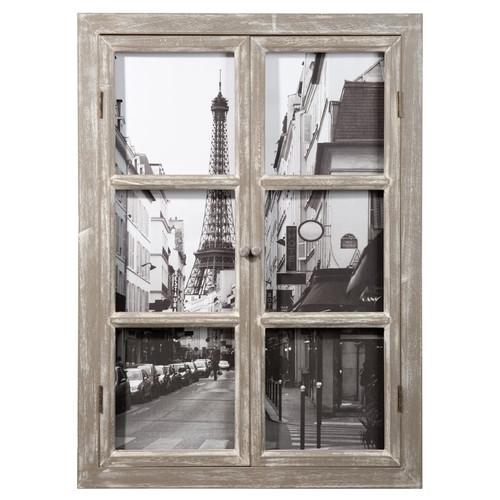 Tableau fen tre en bois 57 x 79 cm paris maisons du monde for Decoration tableau fenetre