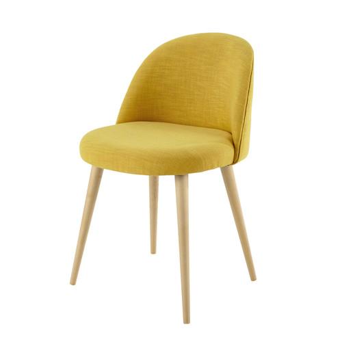 chaise vintage en tissu et bouleau massif jaune mauricette maisons du monde. Black Bedroom Furniture Sets. Home Design Ideas