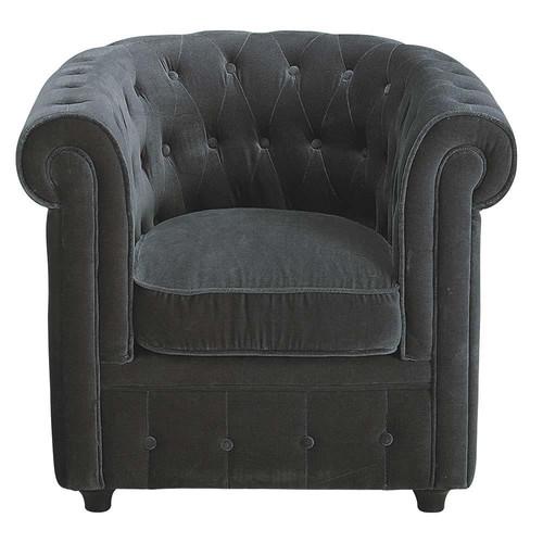 fauteuil velours gris capitonn chesterfield maisons du. Black Bedroom Furniture Sets. Home Design Ideas