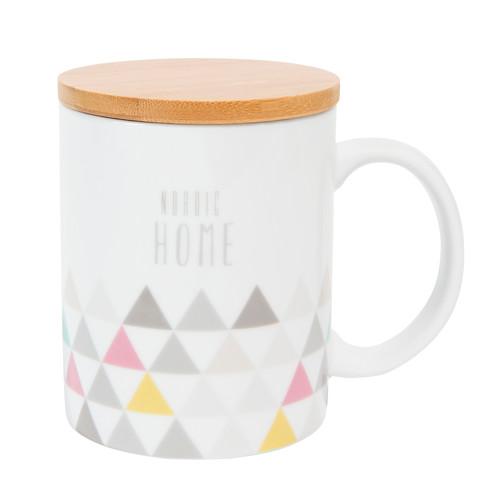 mug avec couvercle bois en porcelaine nordic home maisons du monde. Black Bedroom Furniture Sets. Home Design Ideas