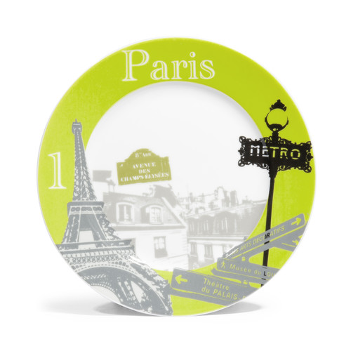 assiette dessert en porcelaine verte d 21 cm paris cities maisons du monde. Black Bedroom Furniture Sets. Home Design Ideas