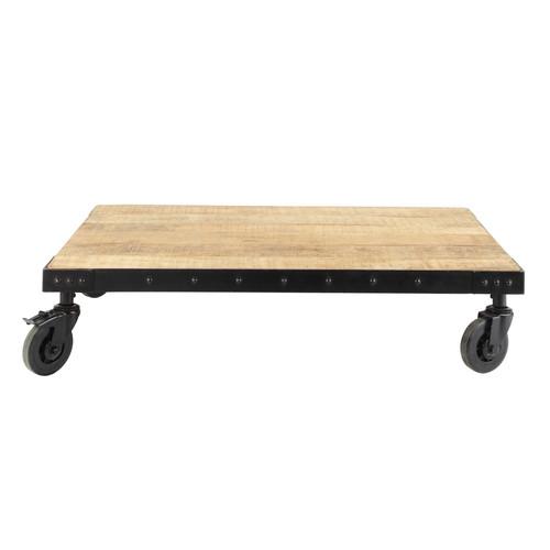 Table basse indus roulettes en manguier massif et m tal l 130 cm factory - Table basse manguier ...