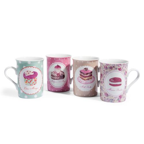 8 mug rosa a motivi in porcellana cupcake. Black Bedroom Furniture Sets. Home Design Ideas