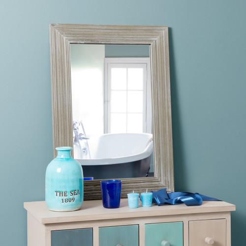 Miroir en bois de paulownia gris clair h 70 cm campagne for Miroir 70 cm