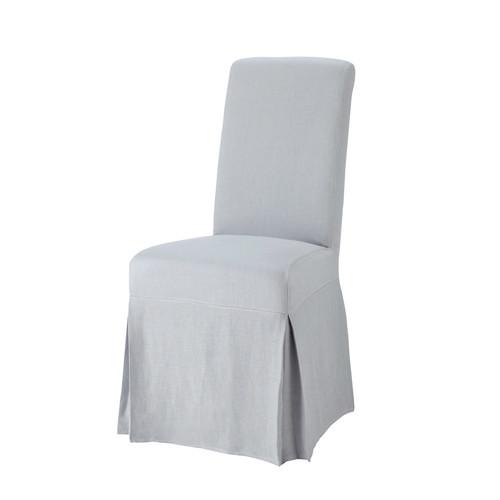 Housse longue de chaise en lin lav bleu nuage margaux - Housse chaise lin ...