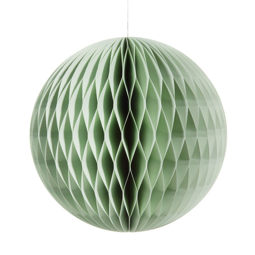 Boule suspendre en papier verte h 39 cm stockholm - Boule papier a suspendre ...