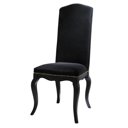 chaise en velours et bois noire. Black Bedroom Furniture Sets. Home Design Ideas
