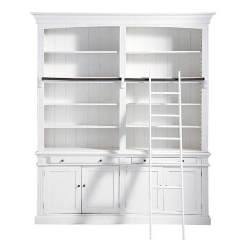 b cherregal aus holz mit leiter b 200 cm wei amandine. Black Bedroom Furniture Sets. Home Design Ideas