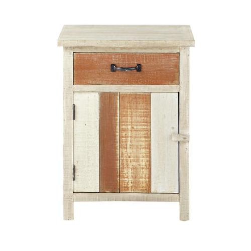 Table de chevet avec tiroir en bois beige l 45 cm noirmoutier maisons du monde - Chevet tiroir a suspendre ...