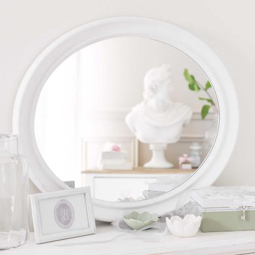 Miroir ovale en bois de paulownia blanc h 70 cm emeline for Miroir blanc bois