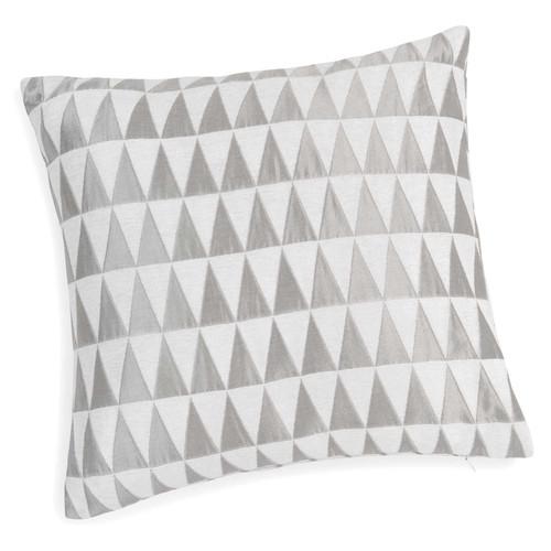 housse de coussin motifs triangles gris blancs 40 x 40 cm. Black Bedroom Furniture Sets. Home Design Ideas