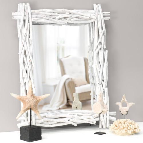 chambre garon feng shui miroir en bois flott blanc h 115 cm fjord maisons du - Feng Shui Chambre Miroir