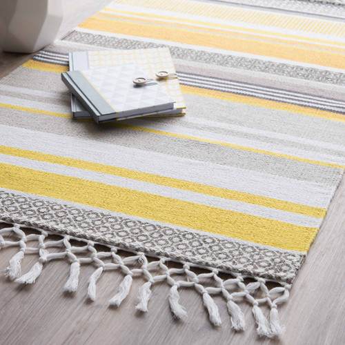 tapis ray en coton jaune gris 60 x 100 cm porto maisons du monde. Black Bedroom Furniture Sets. Home Design Ideas