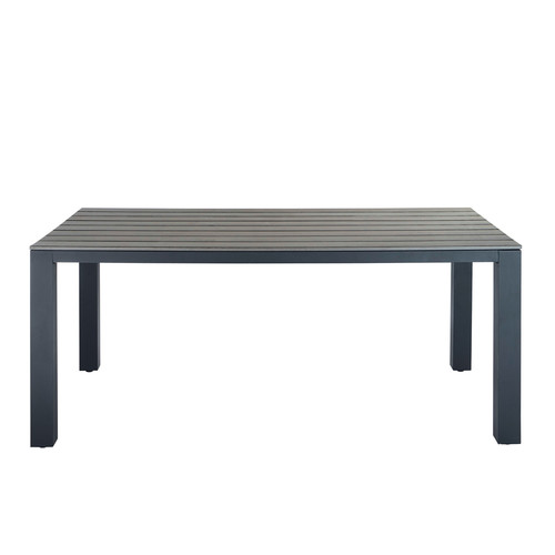 Table de jardin en composite imitation bois et aluminium gris e l 180 cm - Composite imitation bois ...