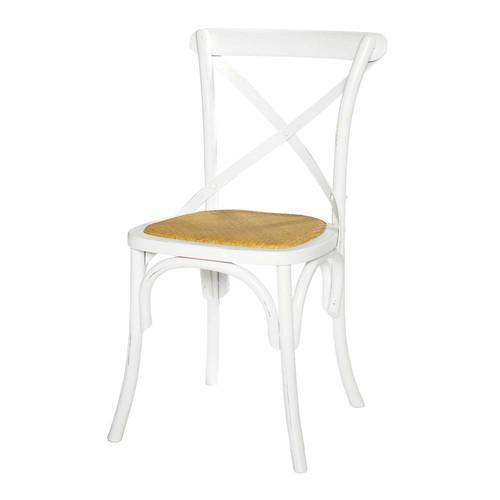 chaise en rotin naturel et bois blanche tradition. Black Bedroom Furniture Sets. Home Design Ideas