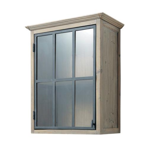 Meuble haut vitré de cuisine ouverture droite en bois recyclé L 60 ...