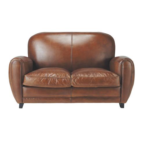 canap vintage 2 places en cuir marron oxford maisons du. Black Bedroom Furniture Sets. Home Design Ideas