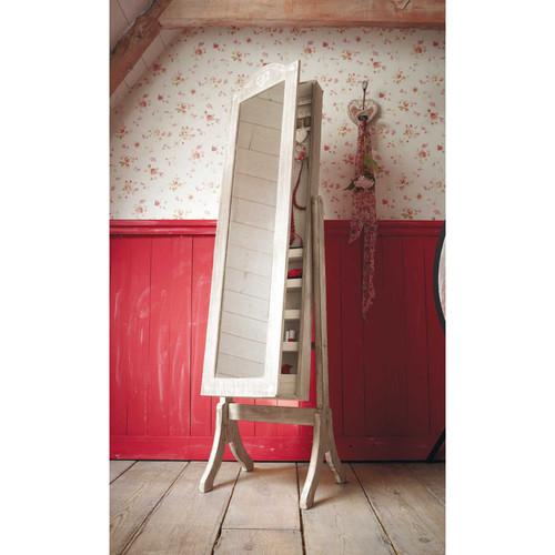 Miroir psych porte bijoux en bois de paulownia blanchi h for Miroir de porte a suspendre