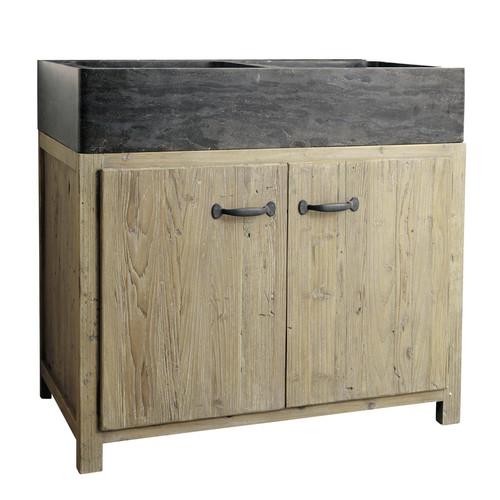 Meuble bas de cuisine avec vier en bois recycl l 90 cm copenhague maisons - Meuble cuisine 90 cm ...