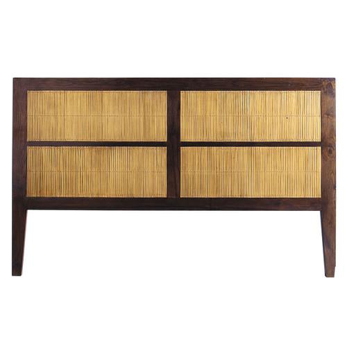 T te de lit en teck massif et bambou teint l 160 cm - Tete de lit bambou 160 ...