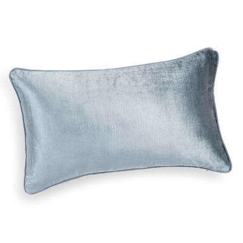 Housse de coussin en lin et velours bleu cendre 30 x 50 cm for Housse coussin velours
