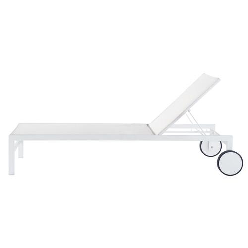 bain de soleil roulettes en aluminium blanc l 203 cm. Black Bedroom Furniture Sets. Home Design Ideas
