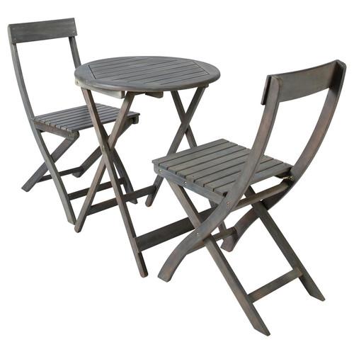 Table 2 chaises de jardin en acacia grises d 39 cm saint - Petite table de salon de jardin ...