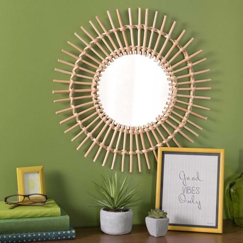 Miroir rond en rotin d 50 cm kumpa maisons du monde for Miroir rond 50 cm