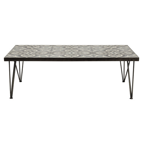 table basse en m tal et carreaux de ciment l 120 cm mosaic maisons du monde. Black Bedroom Furniture Sets. Home Design Ideas