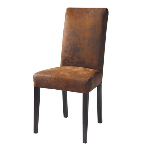 Chaise imitation cuir et bois marron - Chaise imitation cuir ...