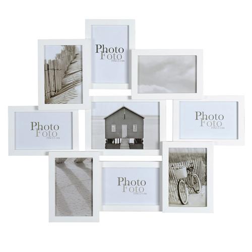 Cadre photo 9 vues en bois blanc 50 x 58 cm relief - Maison du monde cadre photo ...